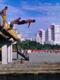Boys Jumping from Bridge in El Rodadero  Seaside Suburb of Santa Marta  Colombia
