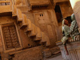 Pair of Women Chatting at Jaisalmer Fort  Jaisalmer  Rajasthan  India