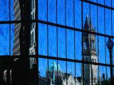 Reflection of Church on John Hancock Building  Boston  Massachusetts  USA