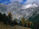 Hikers Going to Grimmels Pasture  Piz Ftur and Piz Sampuoir in Swiss Nat Park  Zernez  Switzerland
