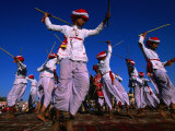 Stick Dancers Performing at Annual Elephant Festival  Jaipur  India