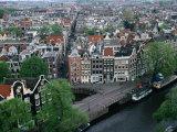 Overhead of Gabled Houses in the Joordan Area  from Tower of Westerkerk  Amsterdam  Netherlands
