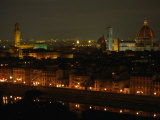 The Dome of Florence's Duomo and Its Landmark Torre d'Arnolfo at Night  Florence  Tuscany  Italy