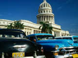 Classic American Taxi Cars Parked in Front of National Capital Building  Havana  Cuba