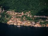 Aerial View of Village on Shores of Lake Lugano  Gandria  Ticino  Switzerland