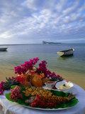 Food Presentation on Table on Beach  Mauritius