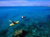 Man and Woman Kayaking on Fernandez Bay  Cat Island  Bahamas