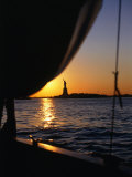 Statue of Liberty at Sunset from Staten Island Ferry  New York City  New York  USA