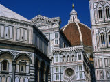 Battistero Facade  Dome and Campanile of Il Duomo  Florence  Tuscany  Italy