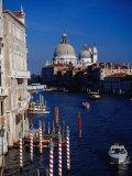 Grand Canal and Domes of Chiesa Di Santa Maria Della Salute in Distance  Venice  Italy