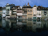 Houses of the Old Town on Aare River  Thun  Switzerland