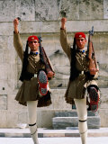 Evzones (Royal Guards) Performing Changing of Guard at Parliament Building  Athens  Greece