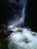 Water from Yosemite Falls Thunders into the Merced River Below  Yosemite Nat Park  California  USA