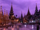 Terrace of Shwedagon Pagoda at Dusk  Yangon  Myanmar (Burma)