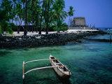 An Outrigger Canoe on the South Kona Coast  Puuhonua O Honaunau National Park  Hawaii  USA