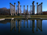 Capitol Columns Reflected in a Pool in the Gardens of US National Arboretum  Washington Dc  USA