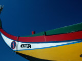 Decorated Prow of a Wooden Seaweed Fisherman's Boat in Murtosa  Azores  Portugal