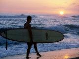 Surfer at Kekaha Beach Park  Kekaha  USA