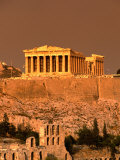 Acropolis and Parthenon from Filopappou Hill  Athens  Greece
