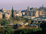 Overhead of Princes Gardens and National Gallery from Edinburgh Castle  Edinburgh  United Kingdom