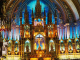 Interior of the Notre Dame Basilica of Vieux Montreal  Montreal  Quebec  Canada