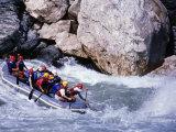 Raft Going into Big Dipper Rapid at Sun Kosi River  Bagmati  Nepal