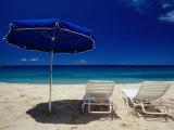 Blue Parasol and Beach Chairs on Manele Bay  Hulopoe Beach  Lanai  Hawaii  USA