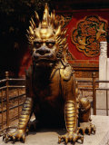 Gilt Imperial Lion Statue in the Forbidden City  Beijing  China