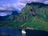 A Sailboat Cruises Past Mountainous Shoreline  Moorea  Society Islands  The  French Polynesia
