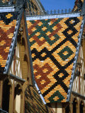 Multi-Coloured Tile Roof of Charity Hospital Hotel Dieu  Beaune  France