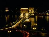 Chain Bridge Over the Danube River  Budapest  Hungary