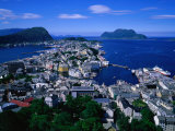 South of City from Mt Aksla  Alesund  Norway