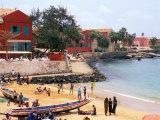 Boats and Beachgoers on the Beaches of Dakar  Senegal
