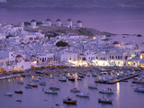 Overview of Mykonos Town harbor, Mykonos, Cyclades Islands, Greece Papier Photo par Walter Bibikow