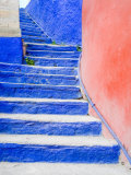 Blue Stairs Leading to Restaurant  Guanajuato  Mexico