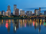 City Lights Glowing at Night  Portland  Oregon  USA