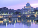 St Peter's and Ponte Sant Angelo  The Vatican  Rome  Italy