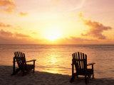 Empty Beach Chairs at Sunset  Denis Island  Seychelles