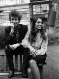 Bob Dylan and Joan Biaz in the Savoy Gardens  April 1965