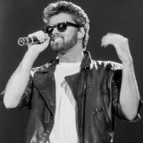 George Michael on Stage at Live Aid Concert  Wembley Stadium  1985