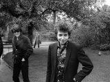 Bob Dylan in the Savoy Gardens on the Thames Embankment  April 1965