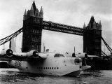 Raf Suderland Flying-Boat Moored Next to Tower Bridge  Thames River  September 1950