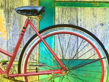 Bicycle Seat and Wheel Against a Barn Wall