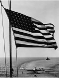 Airplane on Battleship Deck with American Flag in Foreground  World War II