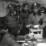 """Escape Kits"" (Cyanide) Being Distributed to Black Fighter Pilots at Air Base in Italy  1945"