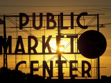 Public Market at Sunset  Seattle  Washington  USA