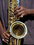 Musicians Hands Playing Saxaphone  New Orleans  Louisiana  USA