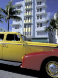 Cars on Ocean Drive  South Beach  Miami  Florida  USA