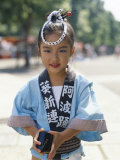 Young Girl  Child Dressed in Yukata  Traditional Dress  Kyoto  Honshu  Japan