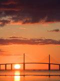 Sunrise Behind Sunshine Skyway Bridge  Florida  USA
